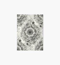 Messy Boho Floral in Charcoal and Cream  Art Board Print
