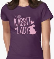Crazy Rabbit (bunny) lady in pink Women's Fitted T-Shirt