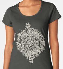 Creme marokkanisches Blumenmuster auf tiefe Indigo-Tinte Premium Rundhals-Shirt