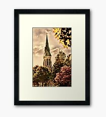 Old church in grunge style Framed Print
