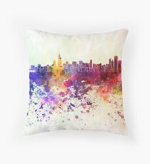 Chicago skyline in watercolor background Throw Pillow