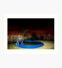 A Deflated Pool in a Suburban Back Yard Art Print