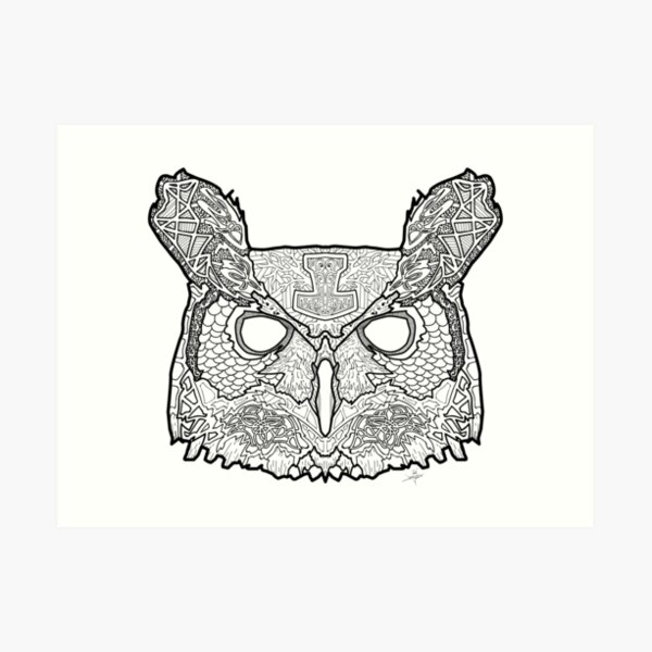 Norse Great Horned Owl Art Print