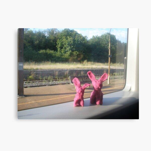 Rabbits on a train Canvas Print