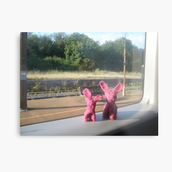 Rabbits on a train Metal Print