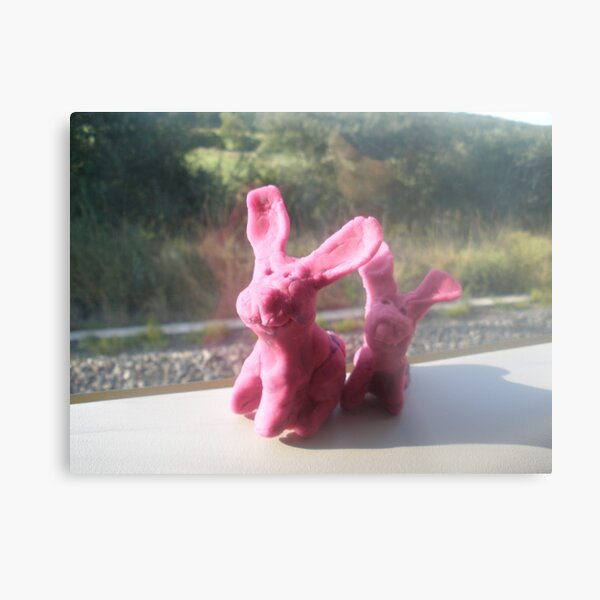 Rabbits on a train II Metal Print