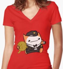 Battle Block Theater Cat Women's Fitted V-Neck T-Shirt