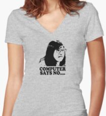 Computer Says No Little Britain T Shirt Women's Fitted V-Neck T-Shirt