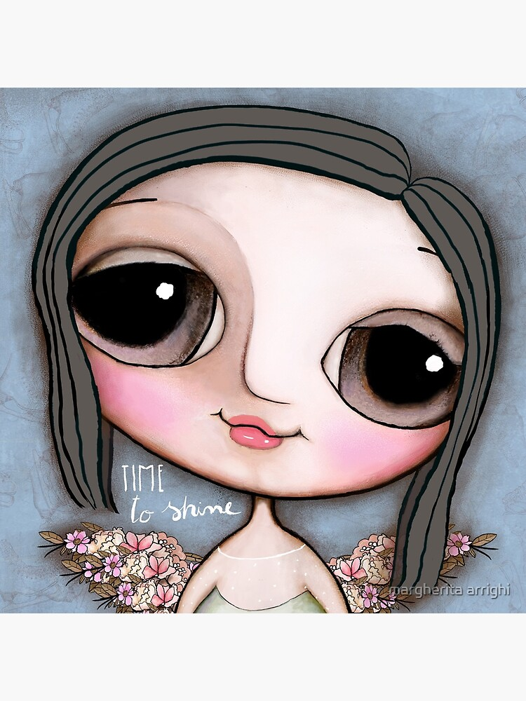 Big eyes girl angel and flowers by marrighi