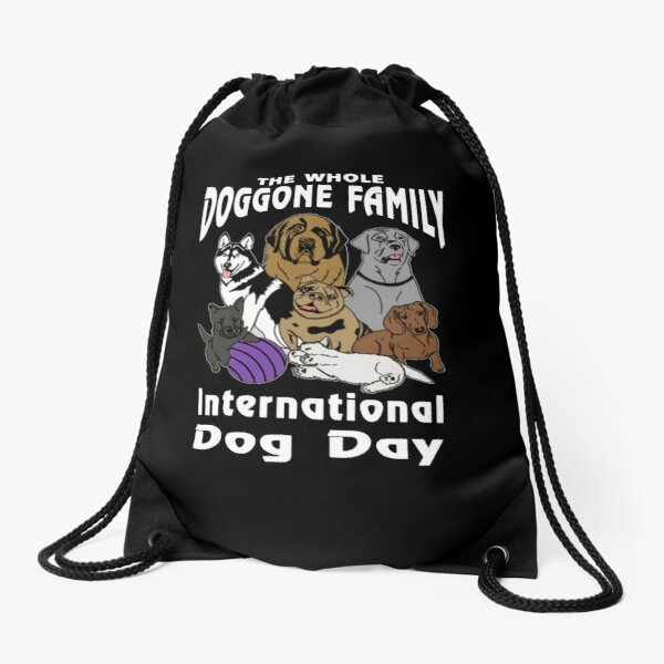 National Dog Day Cute Funny Best Friends. Drawstring Bag