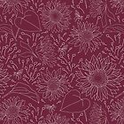 Sunflower and bee   Repeat Vector Surface Pattern Design   hand drawn   red burgundy by DenesAnnaDesign
