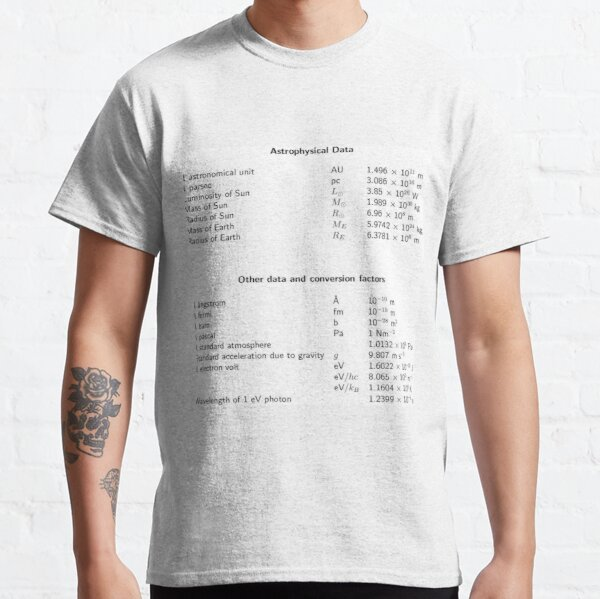 Astrophysical Data. Other data and conversion factors Classic T-Shirt