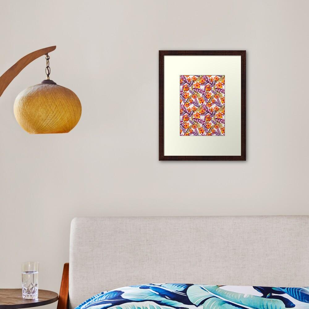 Tropisches Muster Blumen und Blätter Gerahmter Kunstdruck