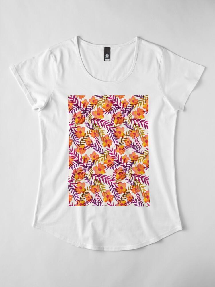 Alternative Ansicht von Tropisches Muster Blumen und Blätter Premium Rundhals-Shirt