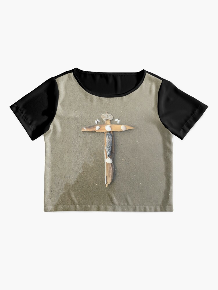 Alternate view of Driftwood cross on beach sand - From ccnow.info Chiffon Top