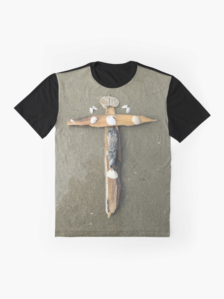 Alternate view of Driftwood cross on beach sand - From ccnow.info Graphic T-Shirt