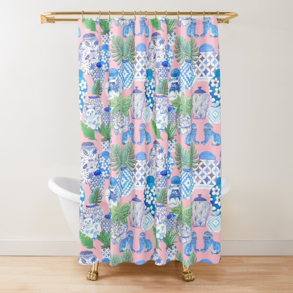 pink Chinoiserie botanical Chinese ginger jars and foo dogs with palms on pink Shower Curtain