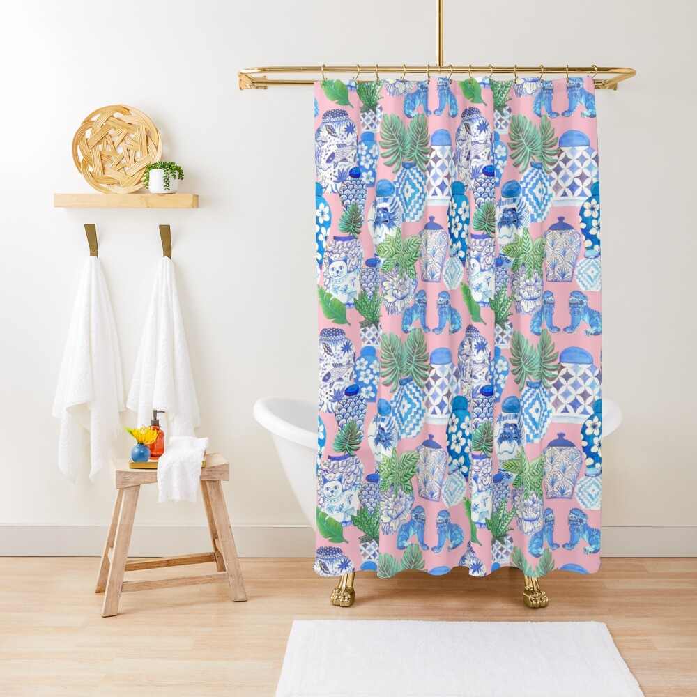 chinese ginger jars Shower Curtain