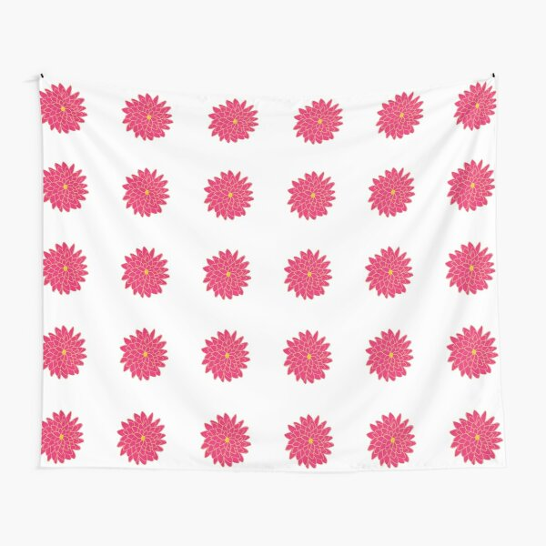 Large Pink and Yellow Dahlia Pattern Tapestry