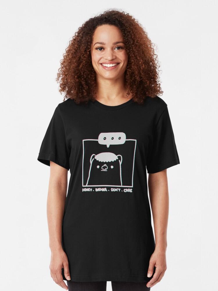 Alternate view of Honey Badger Don't Care - Monochrome 3D Slim Fit T-Shirt