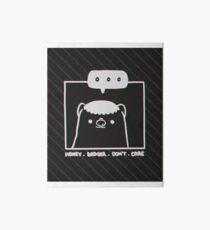 Honey Badger Don't Care - Monochrome 3D Art Board Print
