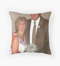 Bride, groom and bouquet Throw Pillow