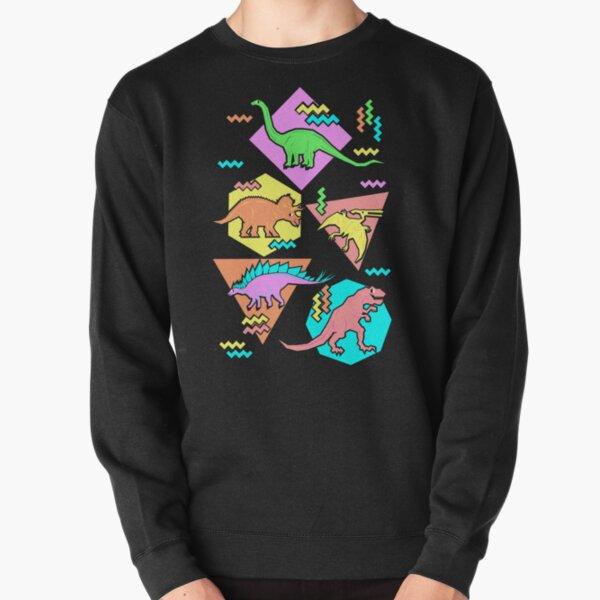 Nineties Dinosaurs Pattern Pullover Sweatshirt