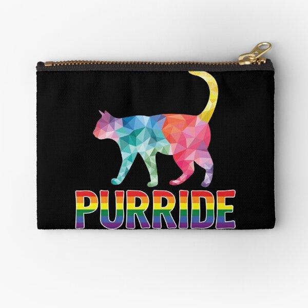 Purride Cat LGBT Gay Pride Rainbow Flag Proud Bisexual Transgender Lesbian Homosexual Cat Mom Kitten Lovers Women Gifts Zipper Pouch