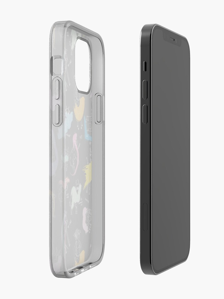 Alternate view of Funny cows line drawing with color splashes dark iPhone Case & Cover