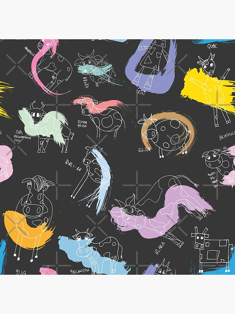 Funny cows line drawing with color splashes dark by nobelbunt