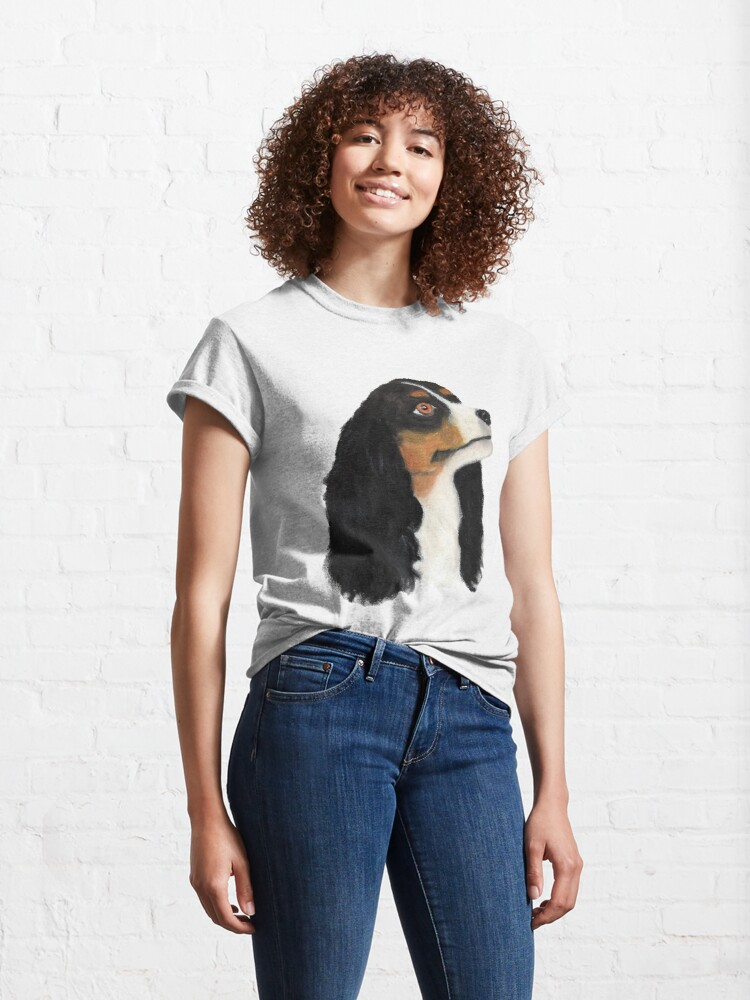 Alternate view of King Charles Cavalier Spaniel - Cute Dog - Oil Painting Classic T-Shirt