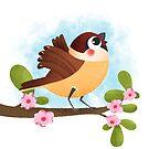 Sparrow sing illustration by Angela Sbandelli