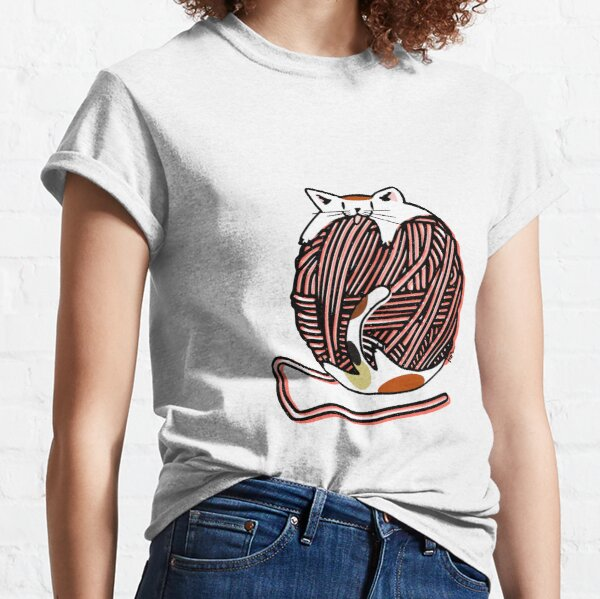 Wool Ball Robber Cat - Living Coral Classic T-Shirt