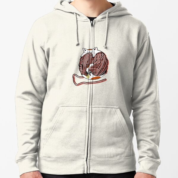 Wool Ball Robber Cat - Living Coral Zipped Hoodie