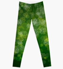 Dreamy Lucky Shamrock Bokeh  Leggings