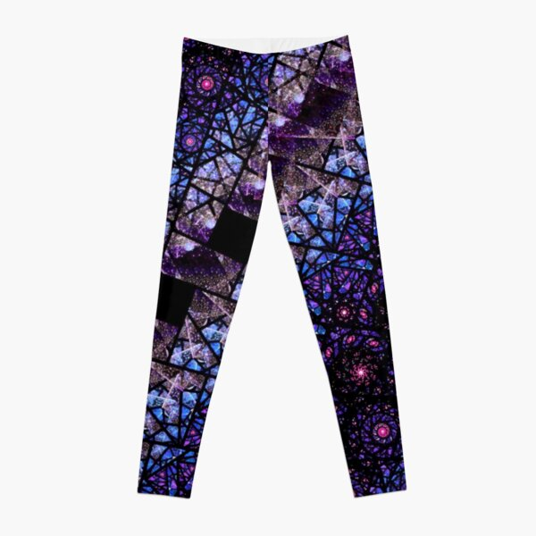 Blue and Purple Stained Glass Fractal Leggings