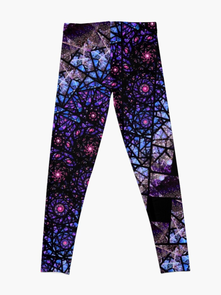 Alternate view of Blue and Purple Stained Glass Fractal Leggings