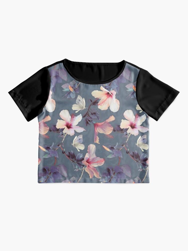 Vista alternativa de Blusa Mariposas y flores de hibisco - un patrón pintado