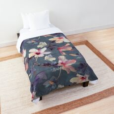 Butterflies and Hibiscus Flowers - a painted pattern Comforter