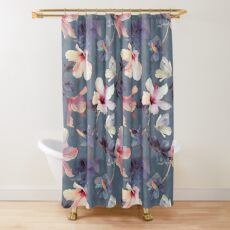 Butterflies and Hibiscus Flowers - a painted pattern Shower Curtain