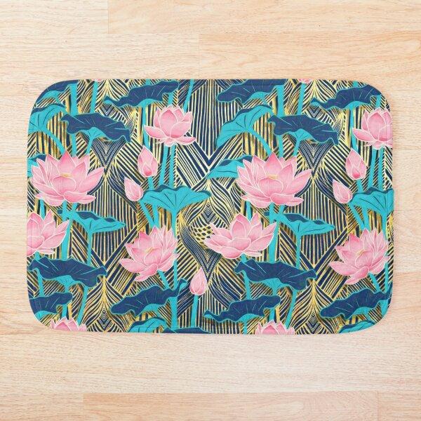 Art Deco Lotus Flowers in Pink & Navy Bath Mat