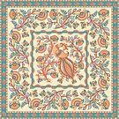 Pfau, Blumen und Blätter. Indischer Stil. Kalamkari. von Skaska
