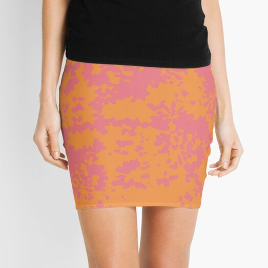 Pink & Orange abstract pattern Mini Skirt