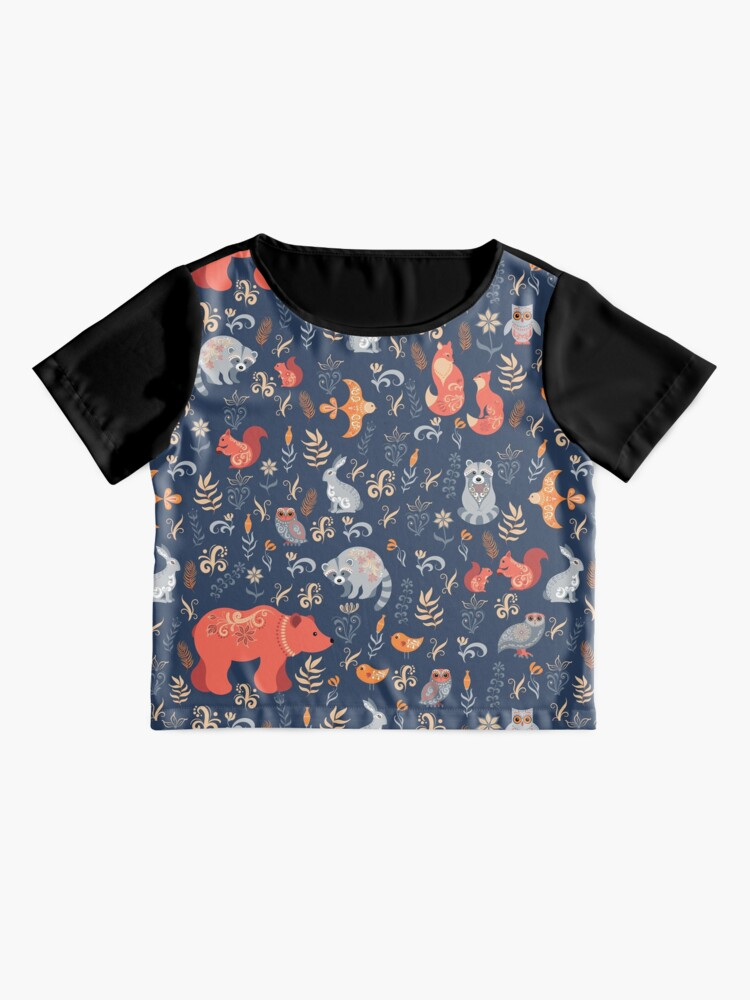 Alternate view of Fairy-tale forest. Fox, bear, raccoon, owls, rabbits, flowers and herbs on a blue background. Chiffon Top