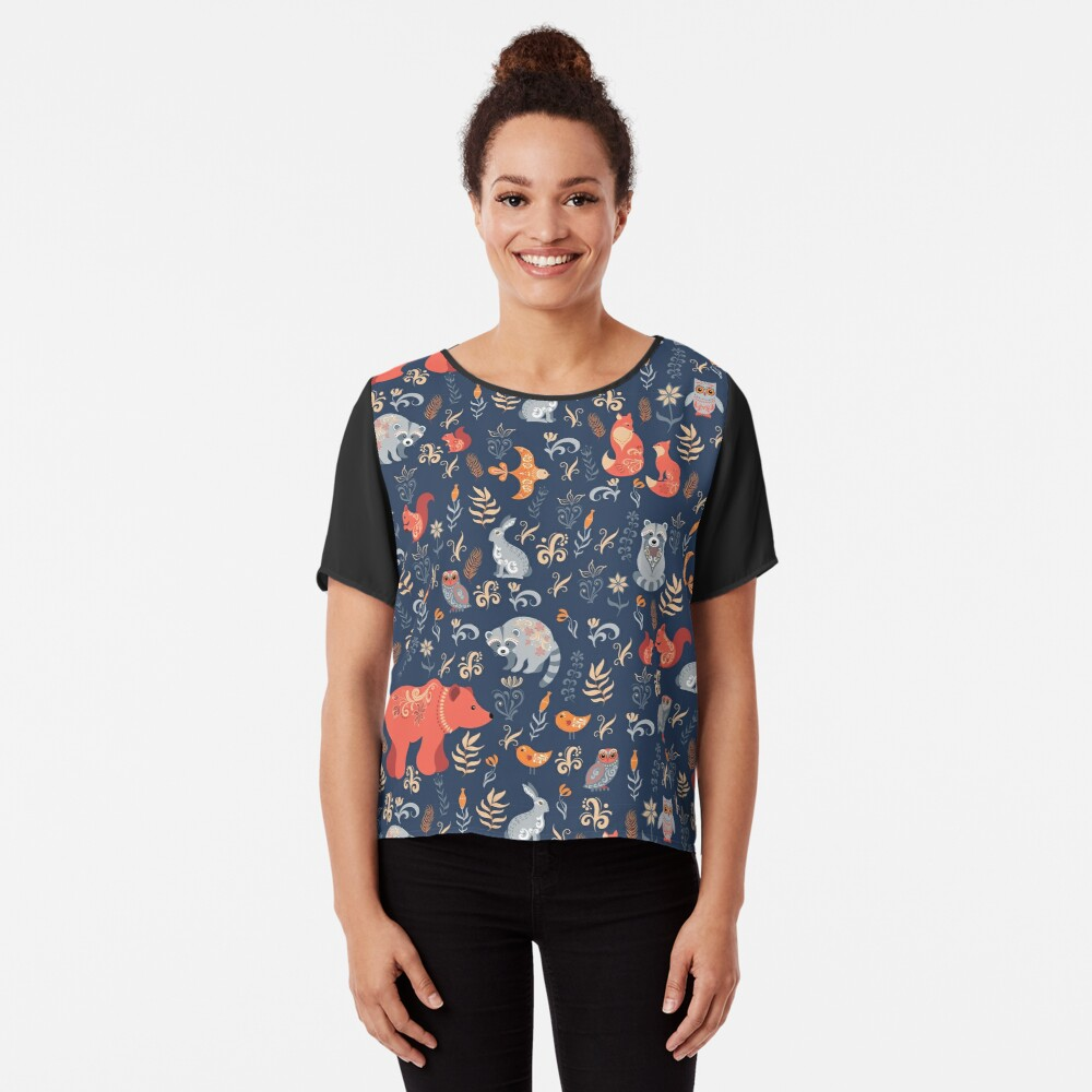 Fairy-tale forest. Fox, bear, raccoon, owls, rabbits, flowers and herbs on a blue background. Chiffon Top