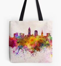 Cleveland skyline in watercolor background Tote Bag