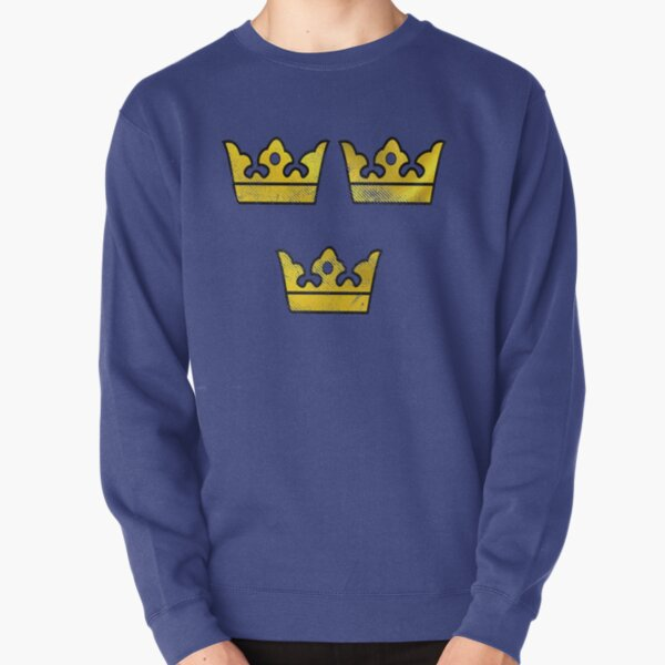 3 Three Crowns Tre Kronor of Sweden Swedish Coat of Arms Distressed Pullover Sweatshirt