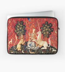 LADY AND UNICORN, SIGHT Red Green Fantasy Blumen, Tiere Laptoptasche