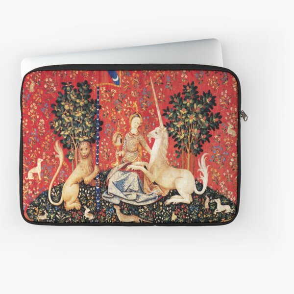 LADY AND UNICORN ,SIGHT  Red Green Fantasy Flowers,Animals Laptop Sleeve