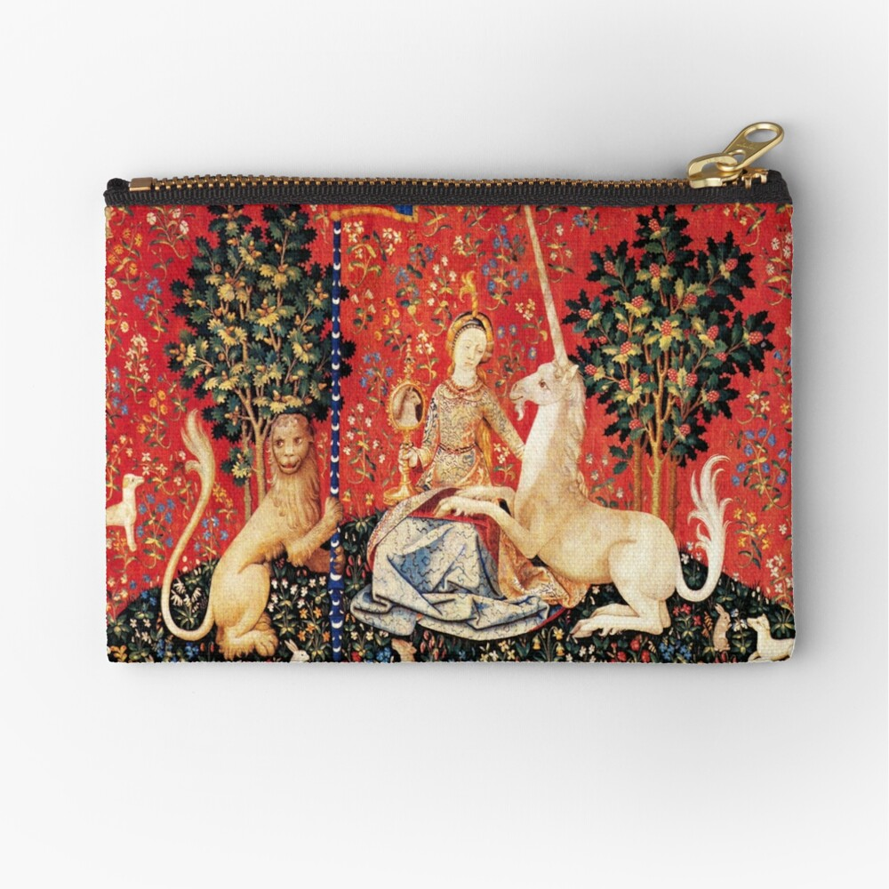 LADY AND UNICORN ,SIGHT  Red Green Fantasy Flowers,Animals Zipper Pouch